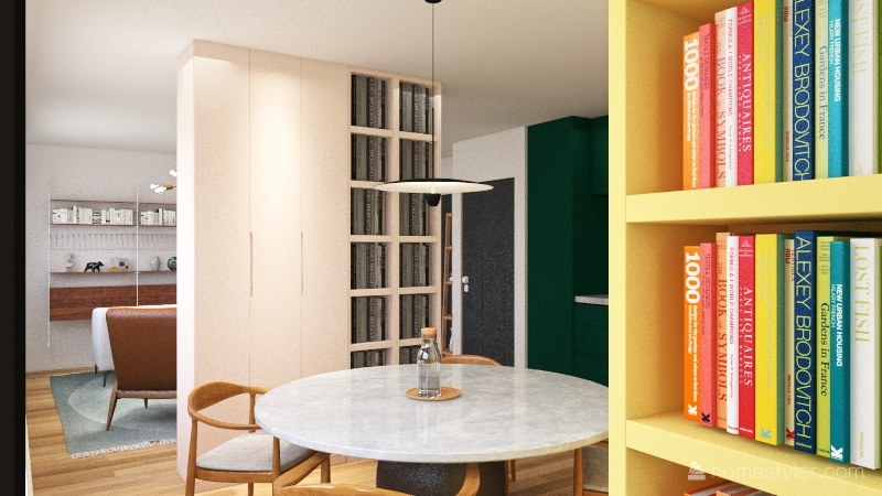 long pink, yellow, green with cabinets Interior Design Render