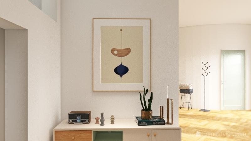 mint loft with curve Interior Design Render