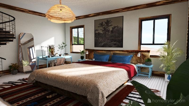 bohemian beach bedroom Interior Design Render