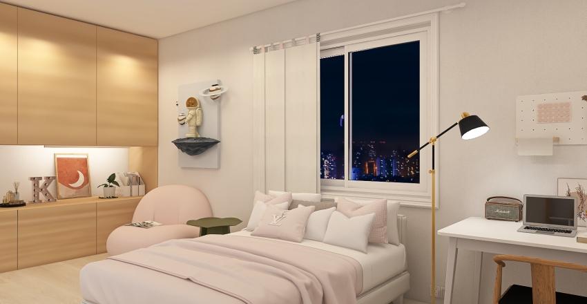 Small Blush Apartement Interior Design Render