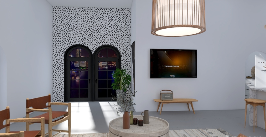 earthy/boho sydney apartment Interior Design Render