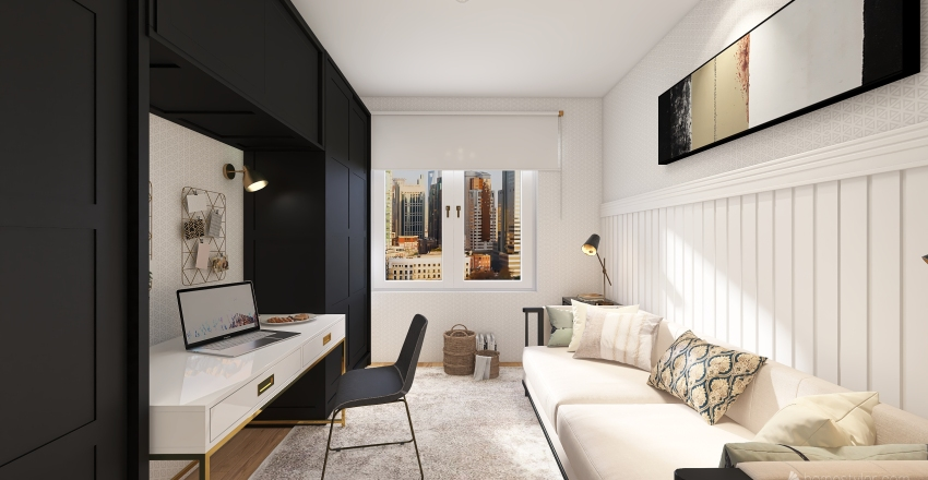 Home Office Quarto de Visitas Interior Design Render