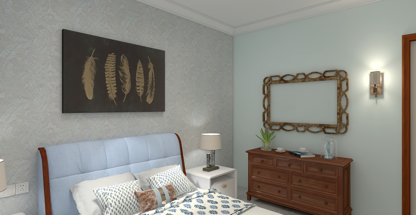3 BHK flat Interior Design Render