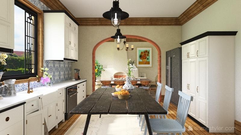 italian kitchen and dining Interior Design Render