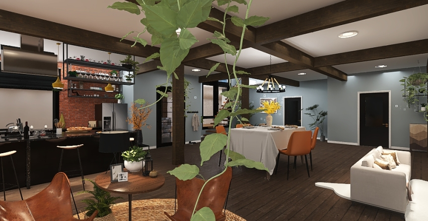 Prairie house Interior Design Render