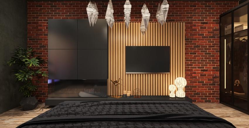 Лофт для кухни-гостиной и спальни. Interior Design Render