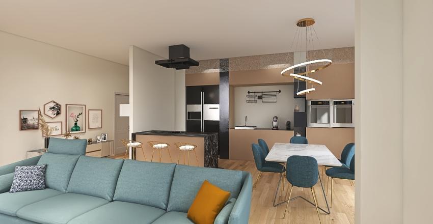 cucina invertita con penisola Interior Design Render