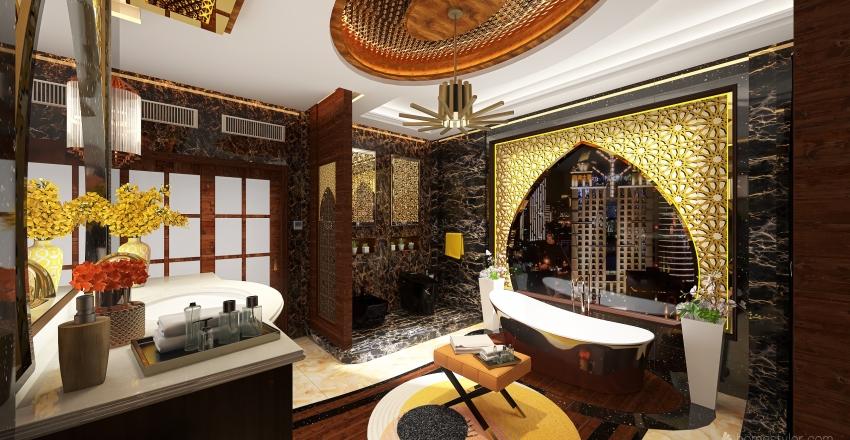 Arabian Inspired - 30sqm Master's Toilet with Walk In Closet Interior Design Render