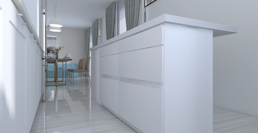 Западный интерьер  угловая кухня Interior Design Render