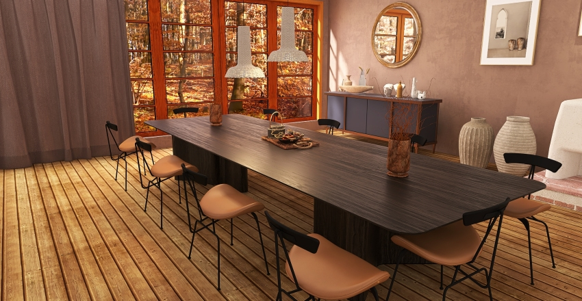 maison dans les bois style japan Interior Design Render