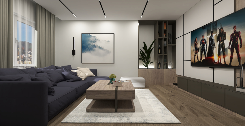 Two Bedroom House in the city Interior Design Render