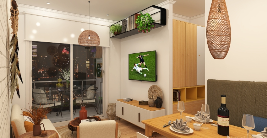 DEPARTAMENTO 3 AMBIENTES Interior Design Render