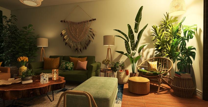 Bohemian inspired living Interior Design Render