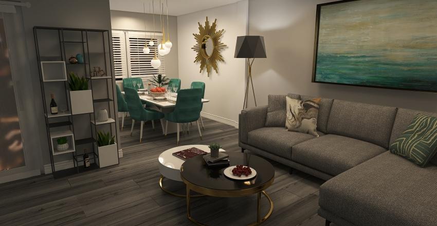salon/jadalnia/kuchnia/ogród Interior Design Render