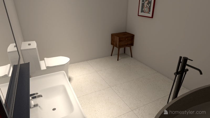Aiden 1 bed 1 BAth Interior Design Render