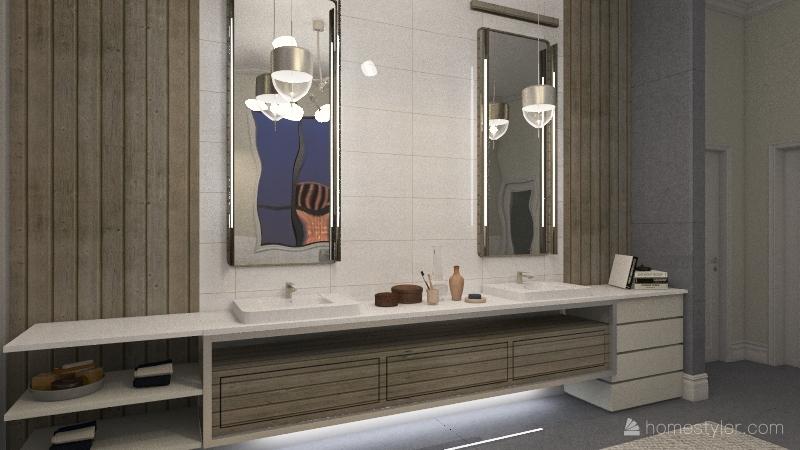 sleek modern bathroom Interior Design Render