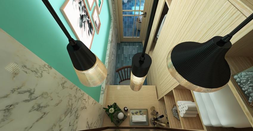 Master's Toilet & Bath - Coastal Design Style Interior Design Render