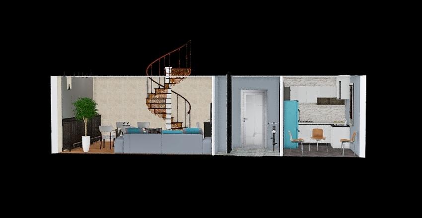 1-ый этаж лестница рядом с кухней Interior Design Render