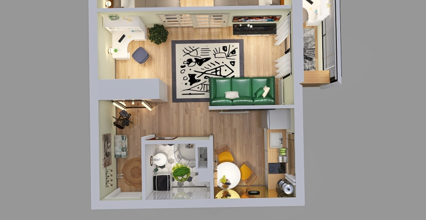 квартира девочек Interior Design Render