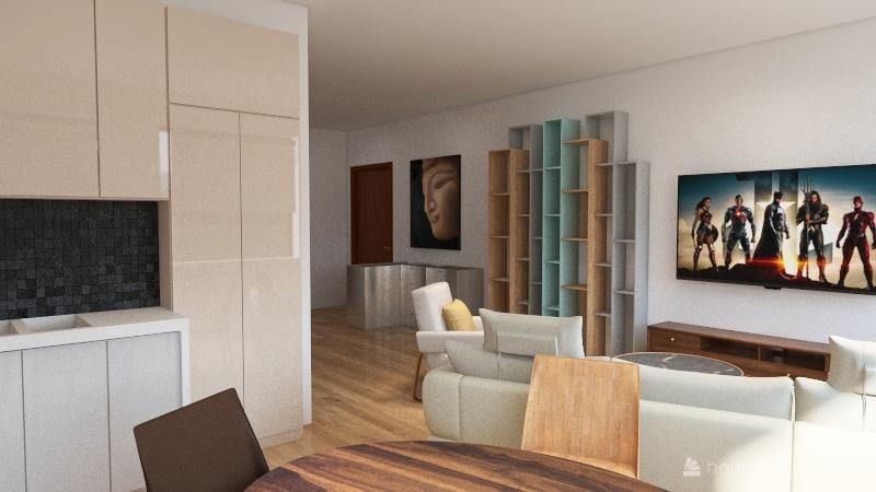Byt otevreny obyvak stul Interior Design Render