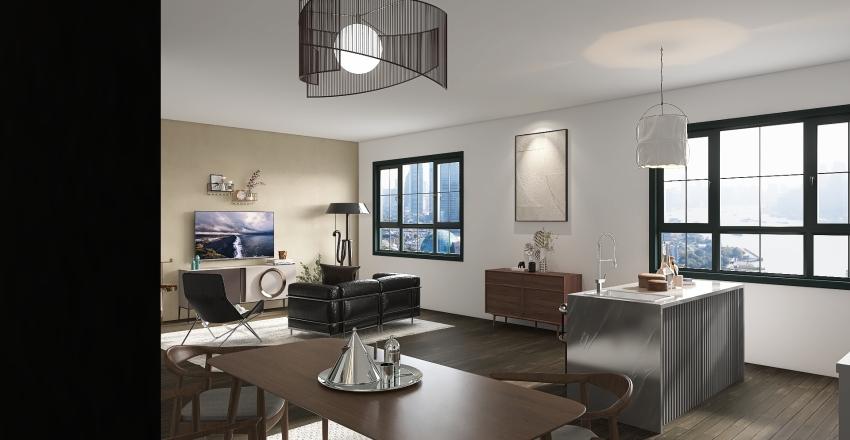 1 Bedroom, 1 Bathroom Unit Interior Design Render