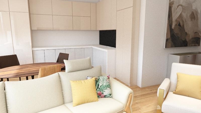 Byt otevreny kuchyne Interior Design Render