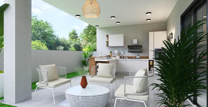 Captivating Modern Glamour In Orange/ Red . white and wood  Home Interior design Interior Design Render