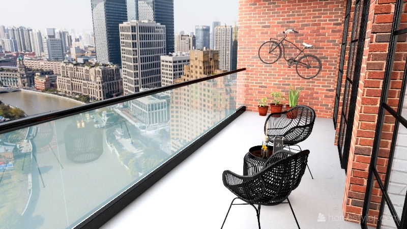 Industrial flat Interior Design Render