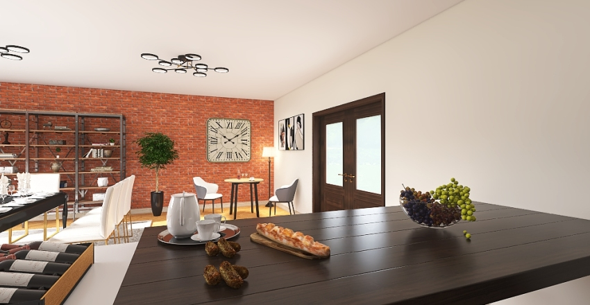 Kitchen & Dining room Interior Design Render