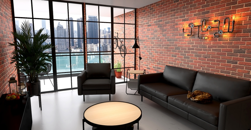 Industrial flat Interior Design Render