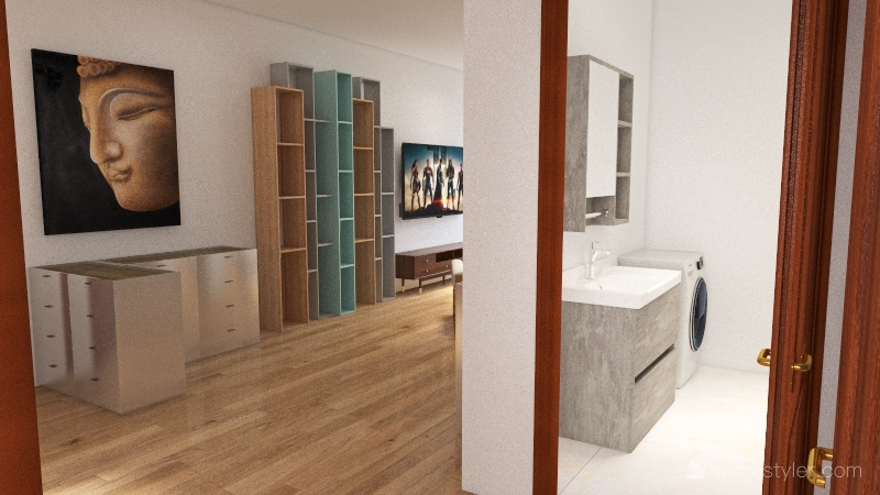 Byt otevreny obyvak - jidelni stul Interior Design Render