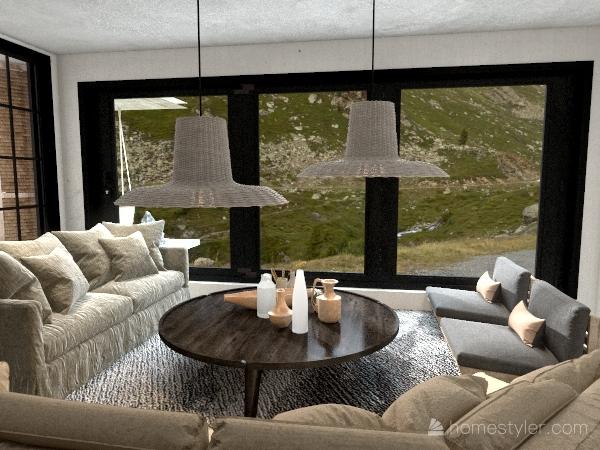 Japandi House Interior Design Render