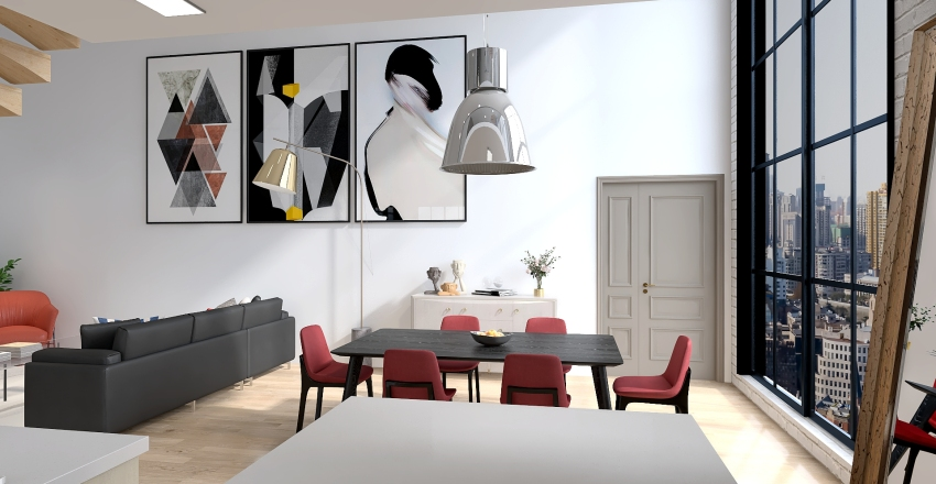 Industrial apartment Interior Design Render