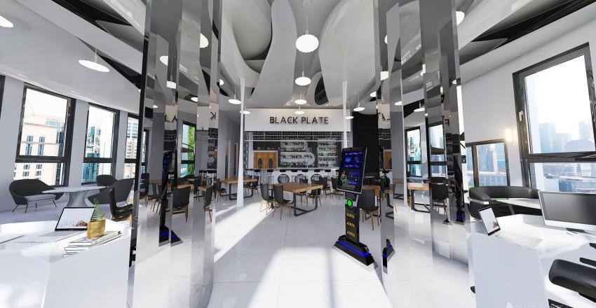 Black Plate Restaurant Interior Design Render