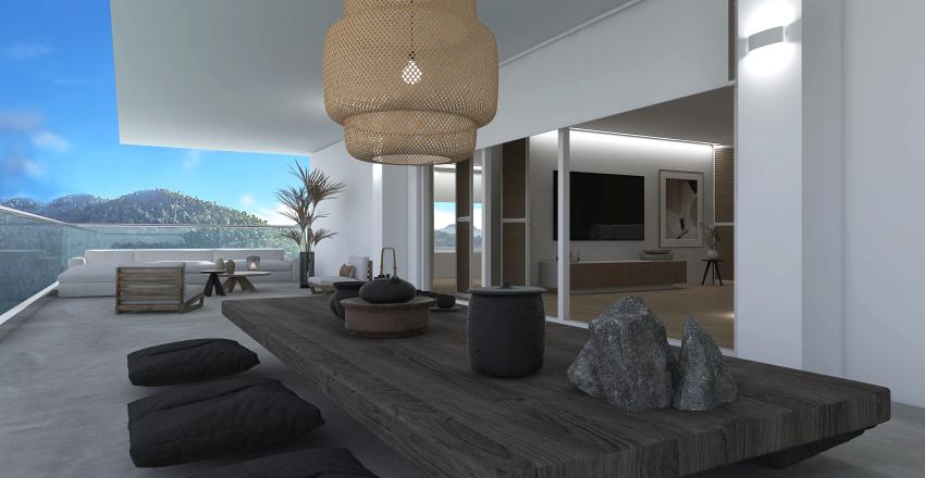 Japandi Glass Apartment Interior Design Render