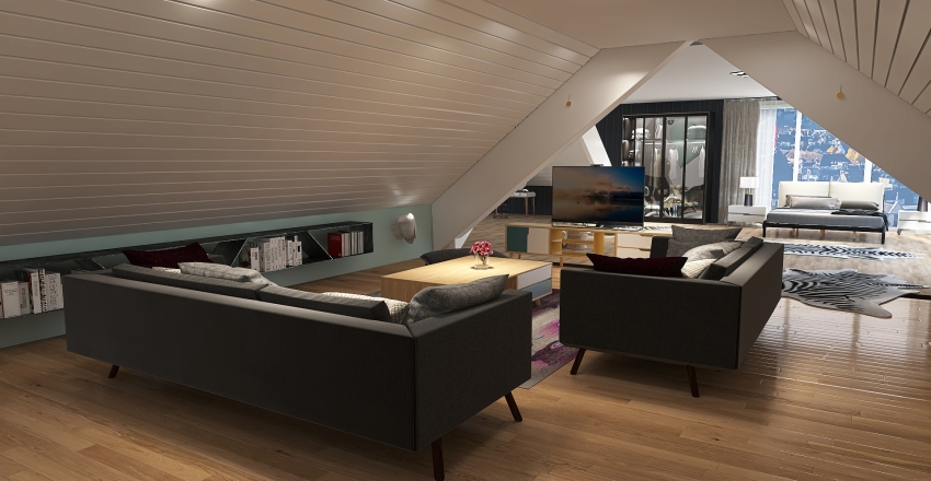 studio en sous pente Interior Design Render