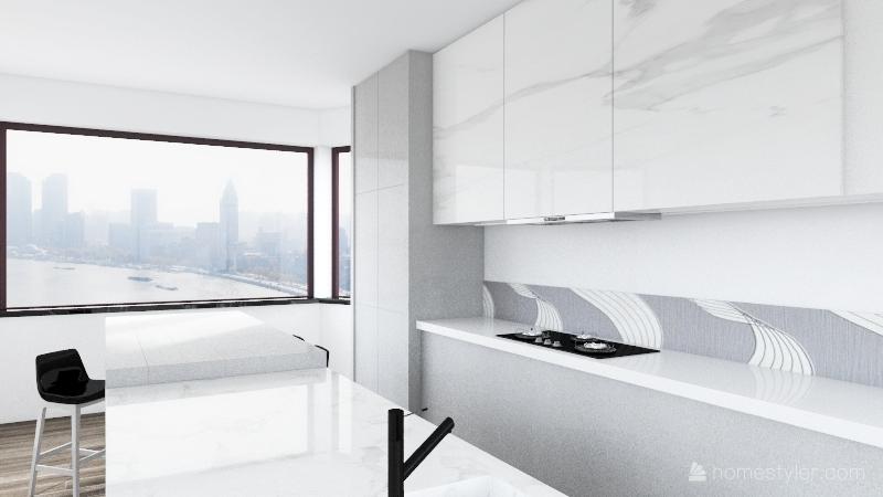 Modern city home. Interior Design Render