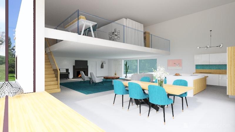 Modern Scandinavian One-room house Interior Design Render