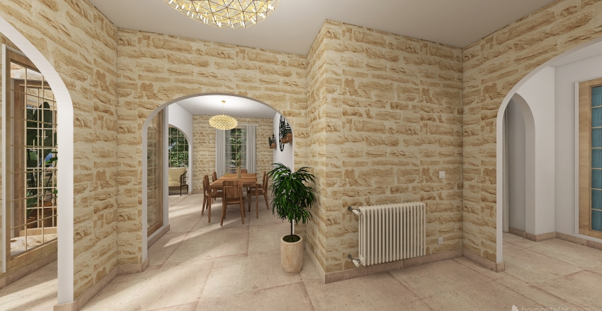Provencal house in the south of France Interior Design Render