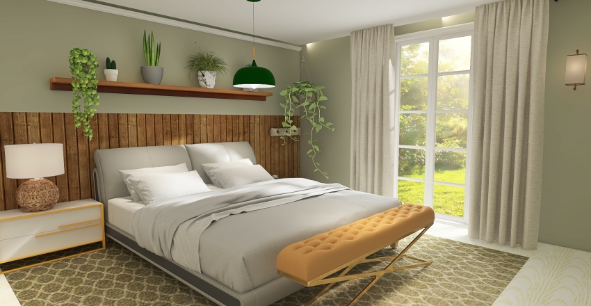 Quarto com mistura do rústico e moderno Interior Design Render