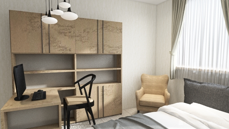Modern Bedroom (black & white) Interior Design Render