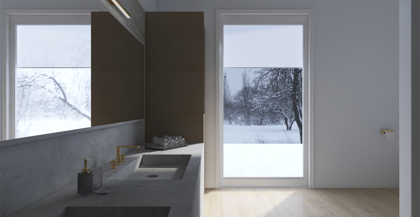 White Winter Cabin Interior Design Render
