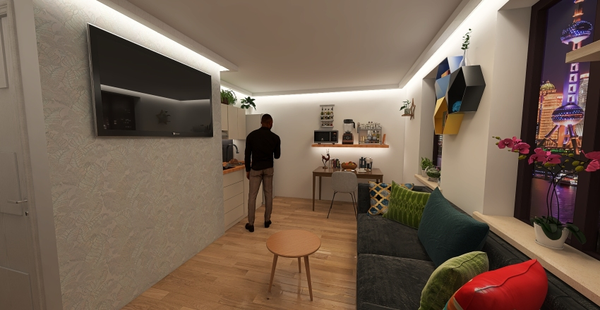 Small flat (for tropical cities) Interior Design Render