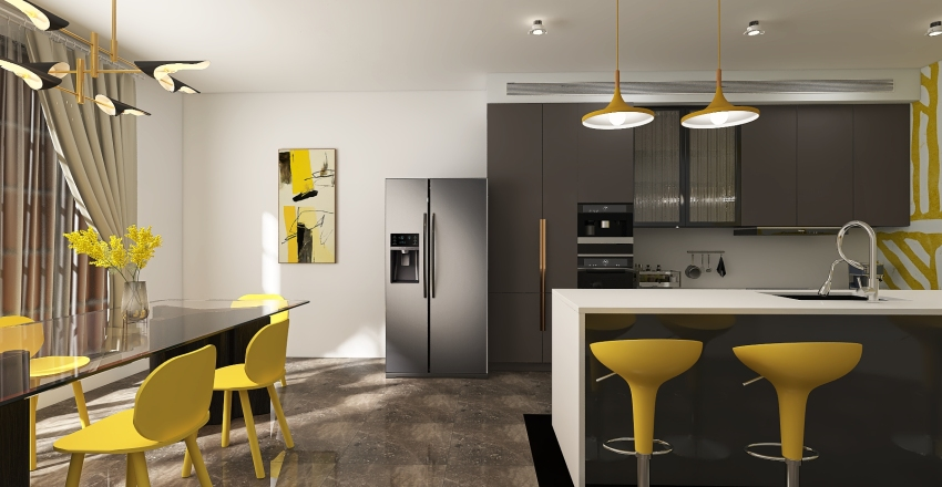 Pantone Kitchen and Dining Room Interior Design Render