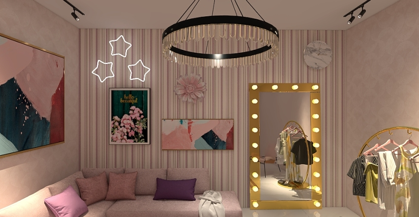 Fun Pink Dressing Room Interior Design Render