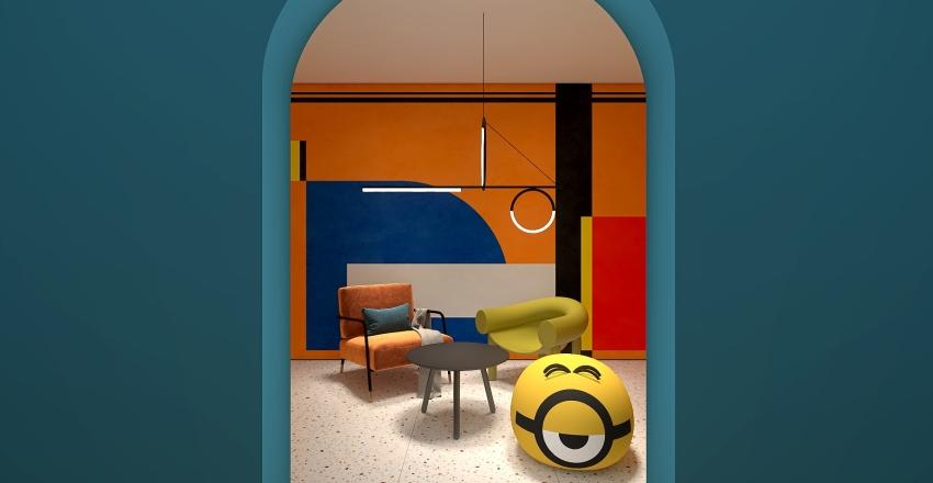 Memphis interior through arch opening Interior Design Render