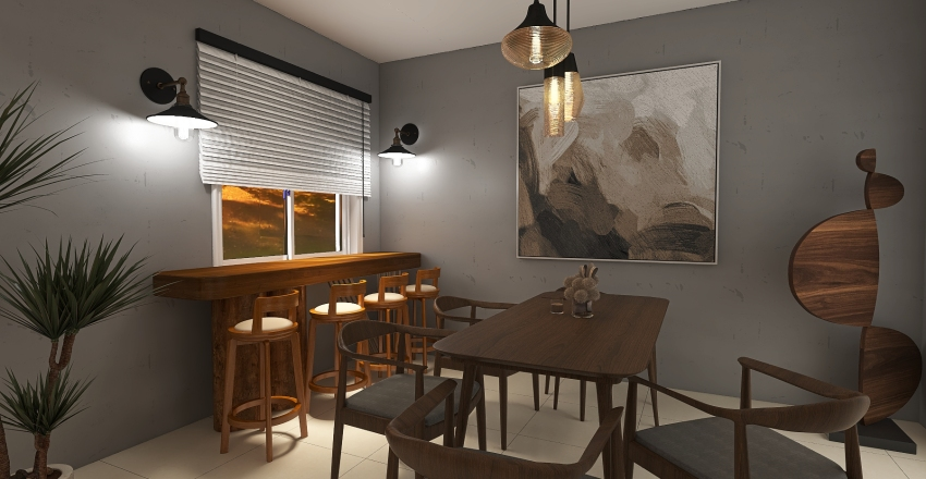 Earthy Living Room and Dining room Interior Design Render