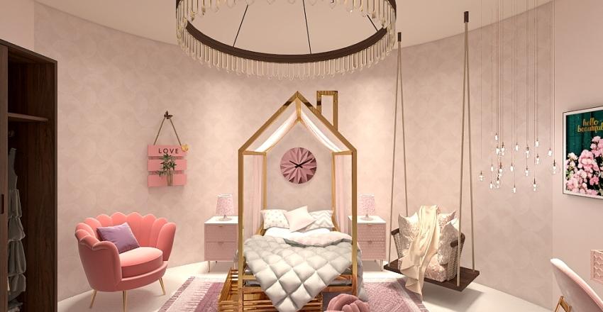 Pink Sakura bedroom Interior Design Render