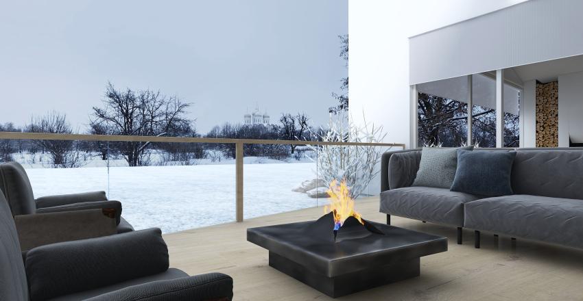 White Winter Cabin Interior Design Render