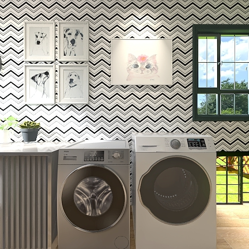 Chic Laundry Room Interior Design Render